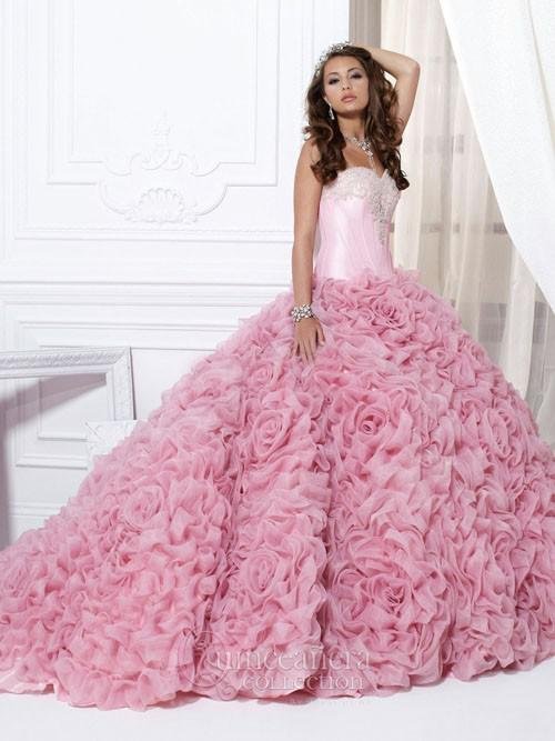 Ny Ankomst Organza Quinceanera Klänningar Sweetheart Beaded Appliques Ruffles Long Pink Hot Sale Special Occasion Boll Gown W8014