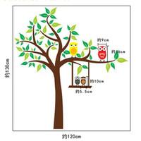 fond d'écran de hibou achat en gros de-Belle chouette fleur arbre amovible décoration murale PVC autocollants muraux papier peint autocollants pour enfants bébé chambres décoration de la maison