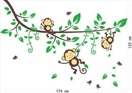 decalcomania albero scimmia Sconti Jungle Monkey Tree Cartoon Wall Art Stickers Bambini Nursery Decalcomania smontabile Decor Decalcomanie in vinile Adesivo Vendita calda