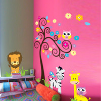 1 Piece Owl Scroll Tree Autocollant Mural Détachable Décoration Intérieure Kids Nursery Cartoon Mural Chambre Enfant Baby Room Decor Décalque Murale