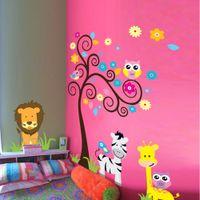 etiquetas engomadas del sitio del bebé del búho al por mayor-1 Unidades Owl Scroll Tree Extraíble Etiqueta de La Pared Decoración Para El Hogar Niños Vivero de Dibujos Animados Mural Habitación de Niño Habitación de Bebé decoración de La Pared calcomanía