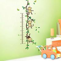 singe décor d'enfants achat en gros de-Vente chaude Singe Forêt Amovible PVC Mur Sticker Autocollants Enfants Diagramme De Hauteur mesure Pour Chambre De La Pépinière Décor De Chambre De Bébé