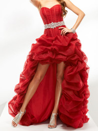 Wholesale Champagne Cocktail Dresses Sweetheart - New A Line Organza High Low 2016 Prom Dresses With Beaded Sash Hot Red Bandage Long Elegant Cocktail Homecoming Formal Evening Gowns W2065