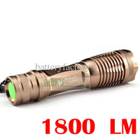 Wholesale High Power Led Lamp Price - Lowest price ,ultrafire 1800 Lumen 7 Mode Zoomable CREE XM-L T6 LED 18650 high Power Flashlight Torch Zoom Lamp Light Golden