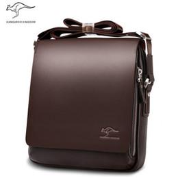 bandolera hombre cuero venta al por mayor Rebajas Wholesale-OP-2014 Rushed Zipper Handbags Hombres Messenger Bags, Big Promotion Genuine Kangaroo Leather Shoulder Bag Man Maletín, envío gratuito
