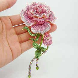 Wholesale Pink Roses For Gift - Wholesale - Beautiful Rhinestone Fashion Jewelry Rose Bud Gold-Plate Pink Rhinestone Crystal Brooch Pin Free shipping For Woman