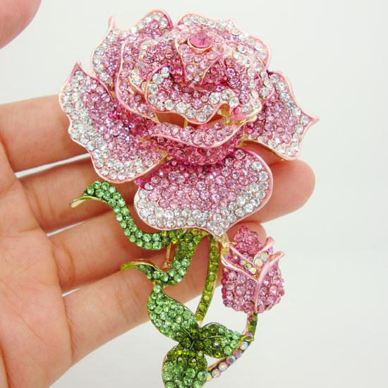 Partihandel - Vacker Rhinestone Mode Smycken Rose Bud Guld-Plate Rosa Rhinestone Crystal Brosch Pin Fri frakt för kvinna