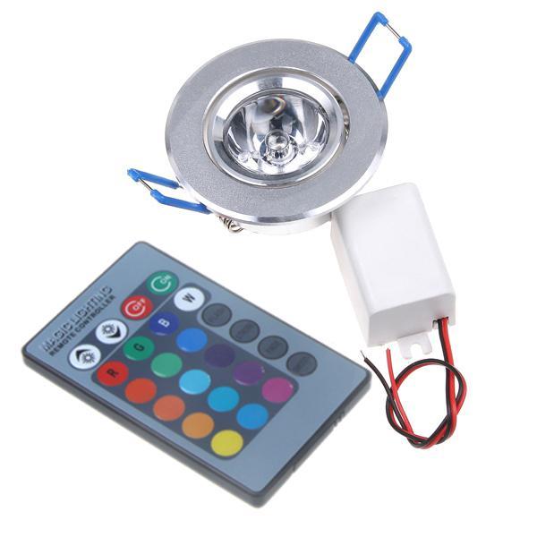 Acheter 3w 85 265v rgb plafond mur feux encastr lampe led ampoule spot encastrables - Lampe encastrable plafond ...