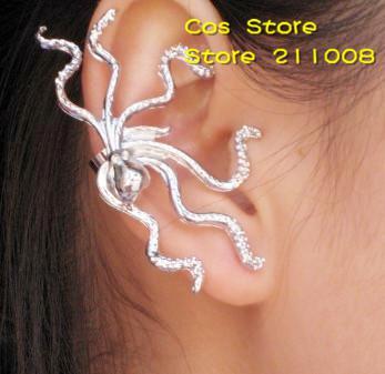 Retro Alloy PUNK Eight Claws Octopus Ear Cuff/ Earrings,12pcs/lot, 2 colors