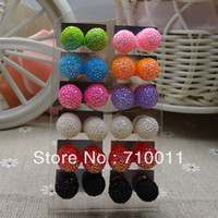 Wholesale images earrings for sale - Group buy mm Cheap Resin Stone Ball Stud Earrings Fahion Jewellery pairs Packing As Image cards