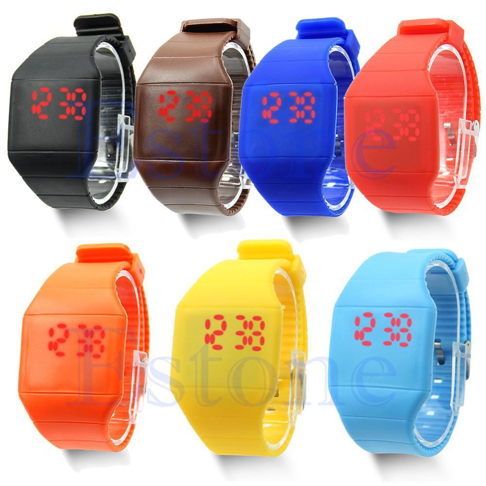 Gros-Unisexe Touch Design numérique LED Silicone Sport montre-bracelet pour les femmes hommes