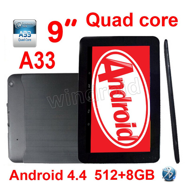 "50PCS Cheapest 9 inch 9"" Allwinner A33 Quad Core 1.5Ghz Android 4.4 kitkat Tablet PC MID 512MB 8GB Dual camera Bluetooth Wifi Colorful DHL"