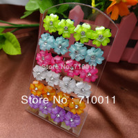 Wholesale Free Card Making - Free Shipping-Factory Wholesale Beautiful Resin Flower Stud Earrings,Man-made Crystal With Rhinestone,12pairs card,12cards lot