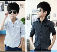 Wholesale Korean Clothes Sizing For Kids - Casual Clothing For Big Boys Children Shirt Korean Style Long Sleeve Polka Dot Turn Down Collar Boys Shirt Spring Kids Big Size Cloth I0042