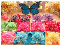 "Wholesale Barefoot Sandals For Children - 30pairs 2"" baby barefoot sandals chiffon foot flowers children sandal shoes bootie flower for baby toes feet"