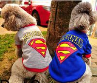 Wholesale Dog Dressed Superman - Summer Superman Pattern Blue Grey Puppy Clothes Pet Dogs Shirts Pets Apparel Clothing Size S M L XL XXL B0643