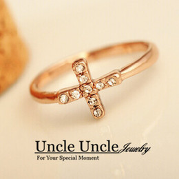Wholesale Ring Cross Gold - Rose Gold Color Austrian Rhinestones Inlaid Cross Style Fashion Lady Finger Ring