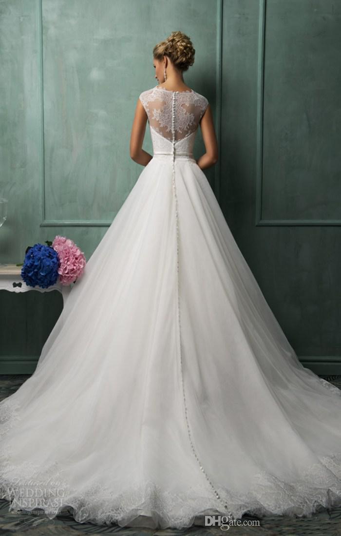 Amelia sposa bäst sälja en linje juvel kapell tåg vit organza spets bröllopsklänningar illusion tillbaka full bröllopsklänningar brudal