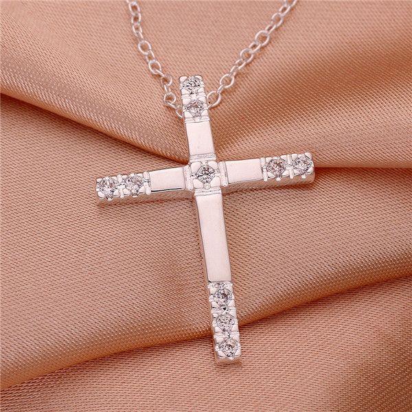 2014 Ny design Toppkvalitet 925 Silverpläterad Kors Hängsmycke Halsband med Zircon Fashion Smycken Julklapp Gratis Frakt