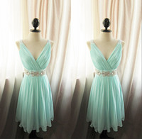 Wholesale Short Mint Dresses - Amazing Pleated V-Neck A-Line Short Bridesmaid Dress With Crystal Sash Bridal Party Gowns Chiffon Mint Maid Of Honor Dress Custom Plus Size