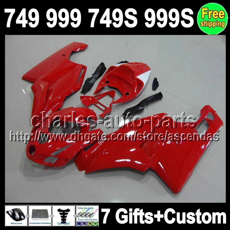 7gifts Usine rouge Pour DUCATI 749-999 03-06 749 999 749S 999S C # L347 749R 999R Rouge brillant 03 04 05 06 2003 2004 2005 2006 Carénage En solde