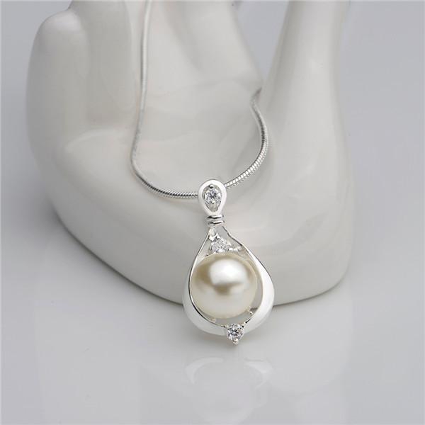 Joyería de moda 925 plata esterlina perla circón collar colgante nuevo diseño regalo de compromiso para las mujeres envío gratis N523