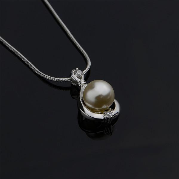 La collana del pendente dello zircone della perla dell'argento sterlina dei monili 925 di modo nuovo regalo di impegno di disegno trasporto libero N523 delle donne