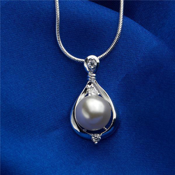 패션 주얼리 925 스털링 실버 진주 지르콘 펜던트 목걸이 여성을위한 새로운 디자인 약혼 선물 N523 무료 배송