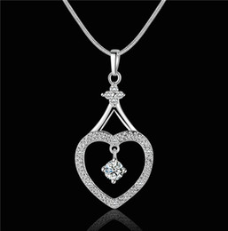 Wholesale Diamond Necklace Pendant Designs Silver - 2014 new design 925 silver swiss CZ diamond heart pendant necklace fashion jewelry beautiful and lovely wedding gift free shipping