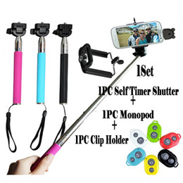 Wholesale Cheapest Galaxy Phones - Cheapest!! 3in1 set bluetooth remote shutter+handheld monopod+phone holder for selfie iphone4 4s 5 5s samsung galaxy s3 s4 s5 note 2 3 4