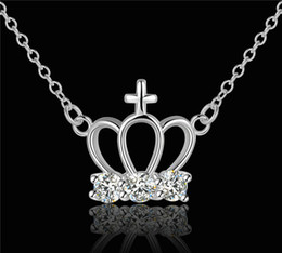 $enCountryForm.capitalKeyWord Canada - Crown pendant necklace with zircon 925 sterling silver jewelry fashion new design beautiful lovely Christmas gift free shipping