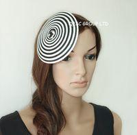 chapéus redondos pretos venda por atacado-Branco preto 14 cm Rodada Straw Millinery trança de palha Disco Saucer Fascinator Base para sinamay fascinator mini chapéu acessório do cabelo