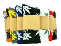 Wholesale Colour Socks - hot multicolor fashion plantlife cotton skateboarding socks Hip-hop socks men's Maple Leaf socks 24 colours choose women socks free size