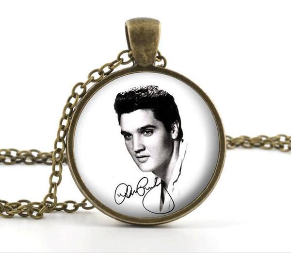 Vintage Elvis Presley Cabochon Verre Bronze Chaîne Collier Pendentif