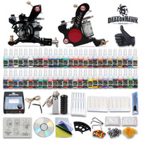 Wholesale Complete Tattoo Power - High Quality Complete Tattoo Kits 2 Machine Guns Set Equipment 54 Colors Ink Power Supply 20 Needles Tatoo Kits DHL Free Shipping