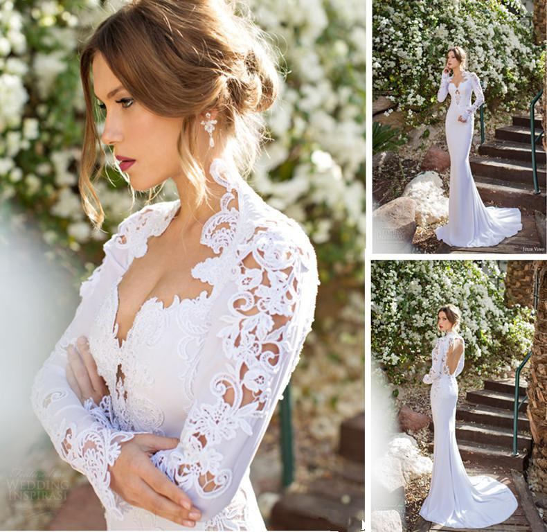 2015 New Elegant Full Long Sleeves Mermaid Wedding Dresses: 2015 New High Neck Long Sleeve Wedding Dresses Appliques