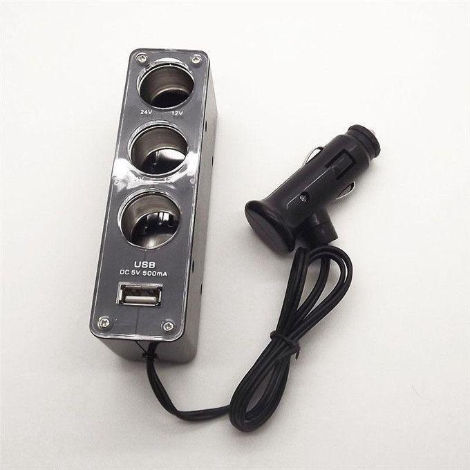 12V 3 Triple Socket 1 USB Car Cigarette lighter plug Charger adapter for Mobile phone mp3 mp4