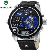 ¡GAGÁ! WEIDE Oversized Tres Zonas Horarias Hombres Multi-funcional Analog digit Sports Watch Japón Miyota Cuarzo Watch, 3ATM