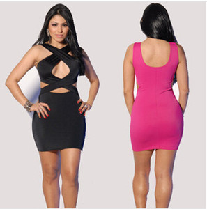 Wholesale 2015 Fashion Women Dresses Plus Size Tight Slim Bodycon Bandage sexy dress Causal crossover Ladies Girls Pencil Skirt Party Prom Dress E41