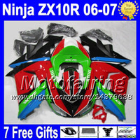 7gifts+ Free shipping For KAWASAKI 06- 07 NINJA ZX10R Red gree...