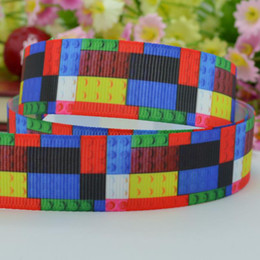 Wholesale Grosgrain Rolls - Lego bricks printed grosgrain ribbon 50 yard 7 8 roll hair craft accessories one direction DIY materials wholesale