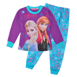 Wholesale Girls Pink Sleepwear - 2014 2T-10T girls elsa and anna long sleeved sleeve winter pajamas pyjamas sleepwear A001