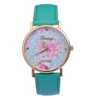montre-bracelet à pois achat en gros de-JW596 GENEVA Montre Florale Femmes Élégantes Robe Montre Grande Fleur Montre À Quartz Avec Horloge En Cuir PU Polka Dot