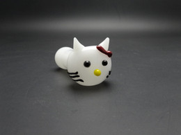 cat hand pipes NZ - restocked hot product white Cute Cat glass pipe glass Hand Pipes Smoking Pipes Dry Pipe