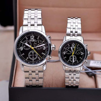 Wholesale Eyki Water - New EYKI Brand Couple Stainless Steel Watches Lovers's Date Calendar Watches Chronograph Quartz Valentine's Gift