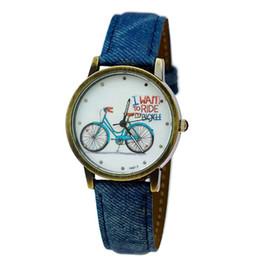 Chinese  JW645 Bicyle Quartz Watch Men Sports Watches Denim Fabric PU Leather Band Bronze Women Watch Dress Watch Clock reloj manufacturers