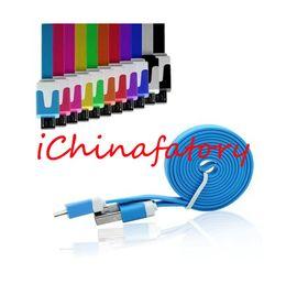 Cable plano del teléfono celular online-Envío gratis Micro USB Cable plano USB Sync Cargador de datos Noodle Cables 1 metro para todos los teléfonos celulares Android