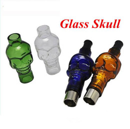 Wholesale Skull Clearomizer - Glass Globe Bulbs Skull Clearomizer with Replacement Ceramic coil Atomizers Electronic Cigarette, Wax Dry Herb Vaporizer Glass Skull Tank