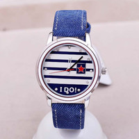 Wholesale Streak Battery - TGJW606 KEZZI Brand Jean Cloth Pasted PU Leather With Streak Design Watch-face Vogue Ladies Girls Watch Quartz Watch