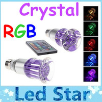 Wholesale crystal led spotlight - 2015 Brand New Crystal RGB Led Bulbs Light With 16 Colors Change E27 E26 GU10 3W Led Lights AC 85-265V Free Shipping